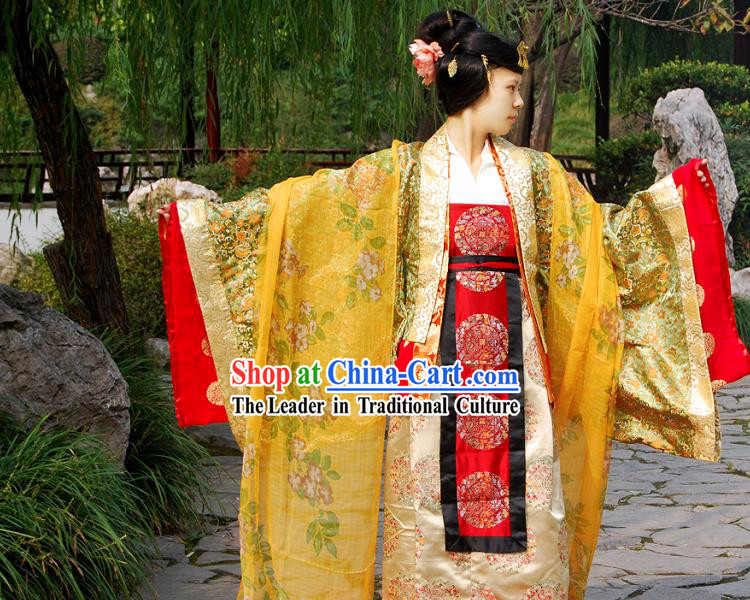 Ancient Chinese Tang Dynasty Princess Clothing and Headdress Complete Set