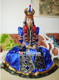 Traditional Mongolian Long Robe and Fur Hat Complete Set