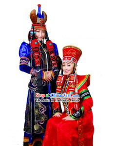 Traditional Chinese Mongolian Long Robe and Hat Complete Set