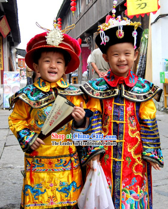 Traditional Chinese Emperor Costumes and Hat for Children