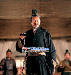 China Han Dynasty Cao Cao Costumes and Hat in Three Kingdoms for Men