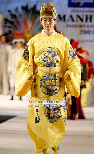 Ancient Song Dynasty Dragon Emperor Men King Costumes and Chinese Emperor Hat