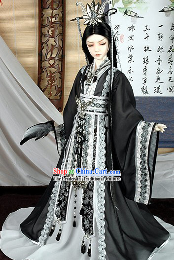 Chinese Ancient Prince Black Costume Complete Set BJD Ancient Chinese Traditional Dress Male