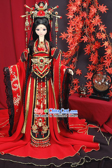 Supreme Ancient Chinese Princess Costumes and Hair Decoration Complete Set