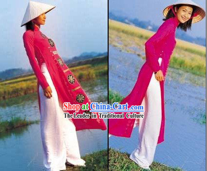 Vietnamese Traditional Ladies Long Cheongsam and Bamboo Hat