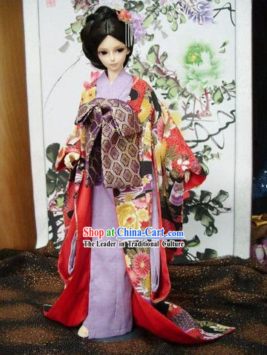 Traditional Japanese Peony Kimono Clothes for Women