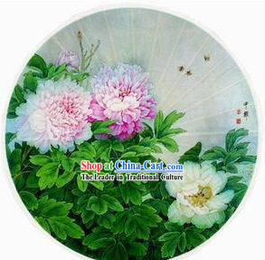 Large 40 Inch Chinese Hand Made Peony Painting Umbrella