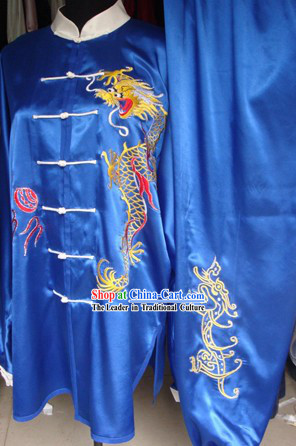 China Martial Arts Tai Chi Embroidered Dragon Blouse and Pants Complete Set for Men