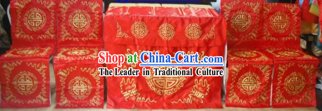 Chinese Wedding Chair and Desk Covers Wedding Stage Decoration Complete Set