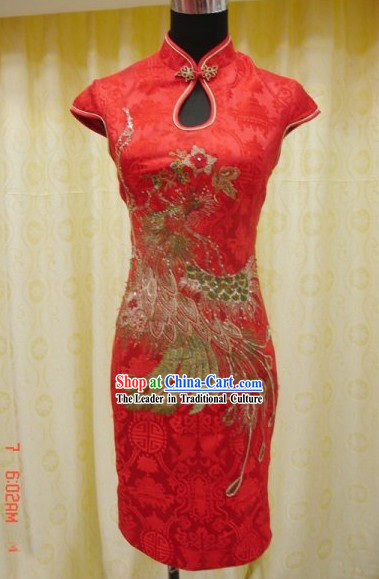 Traditoinal Lucky Red Phoenix Wedding Dress Short Qipao