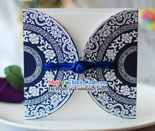 Supreme Hand Made Blue and White Porcelain Chinese Wedding Invitation Cards 20 Pieces Set