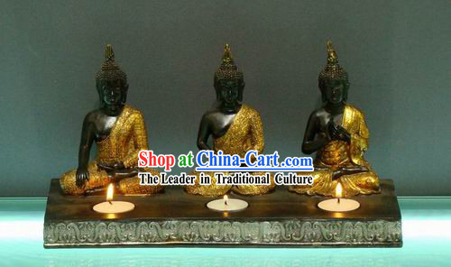 Large Southeast Asia Thai Arts Three Buddha Candlestick