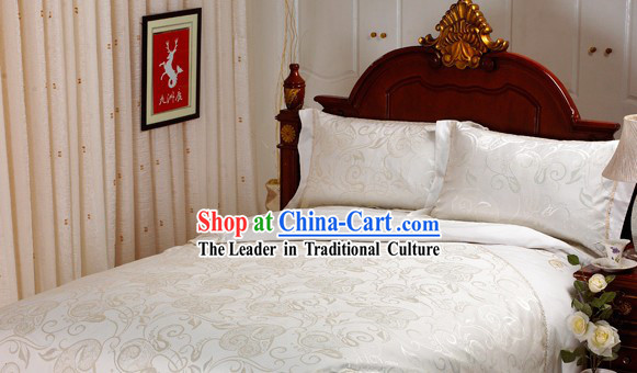 Traditional Wedding Chinese Cotton White Bedspreads Set