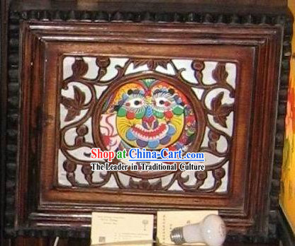 Chinese Antique Style Wooden Lion Dance Wall Lanterns