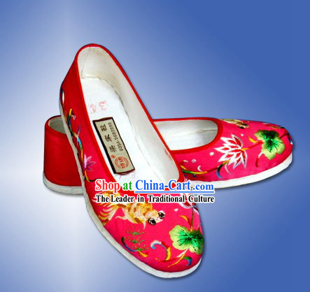 Chinese Hand Made Lucky Goldfish Cloth Embroidery Shoes