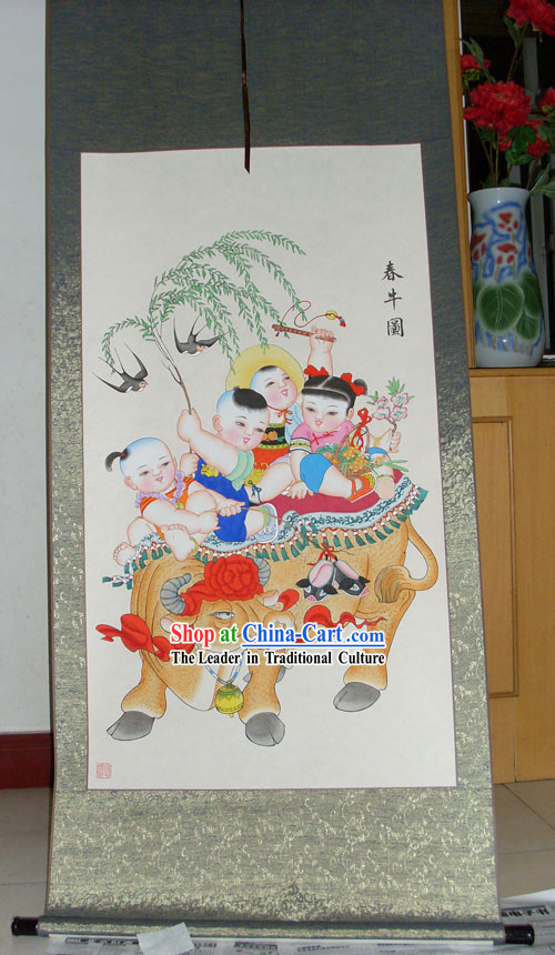 Chinese Traditional Painting / Yangliuqing Folk Painting - Cow and Children