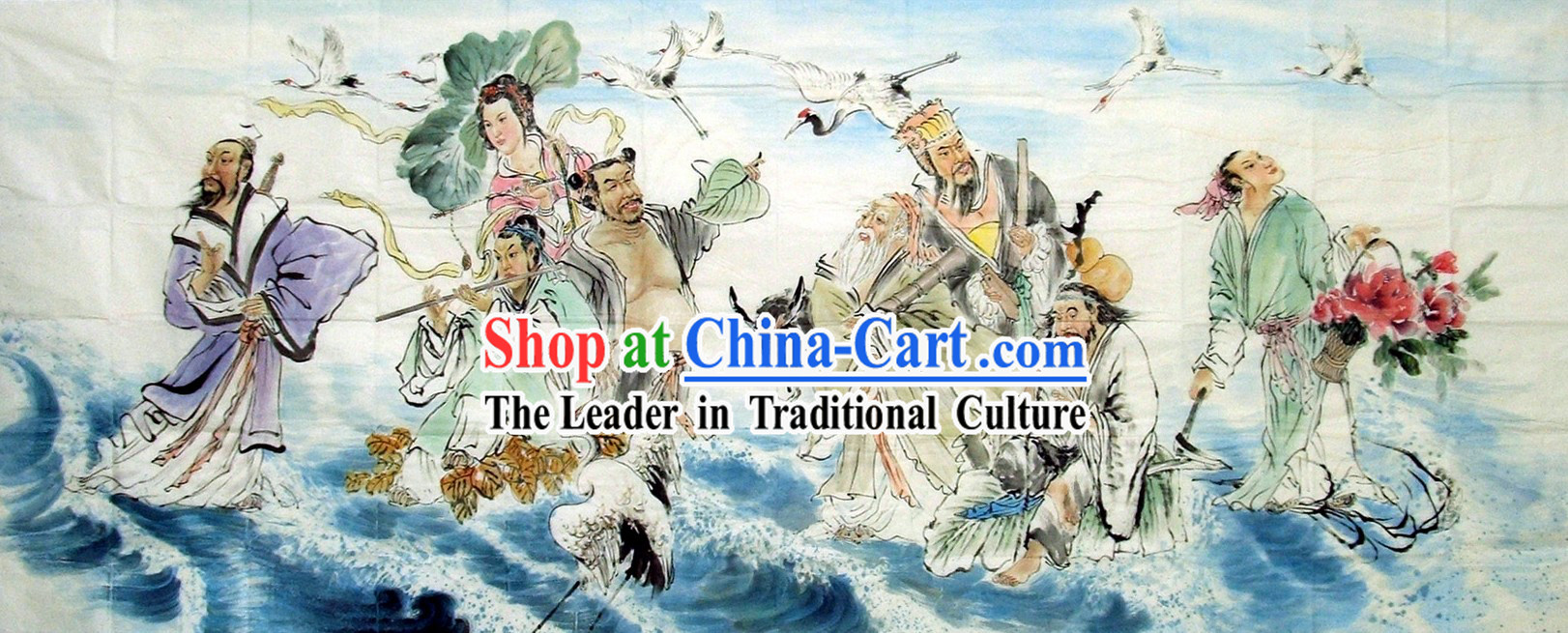 Traditional Chinese Painting - The Eight Immortals Crossing the Sea