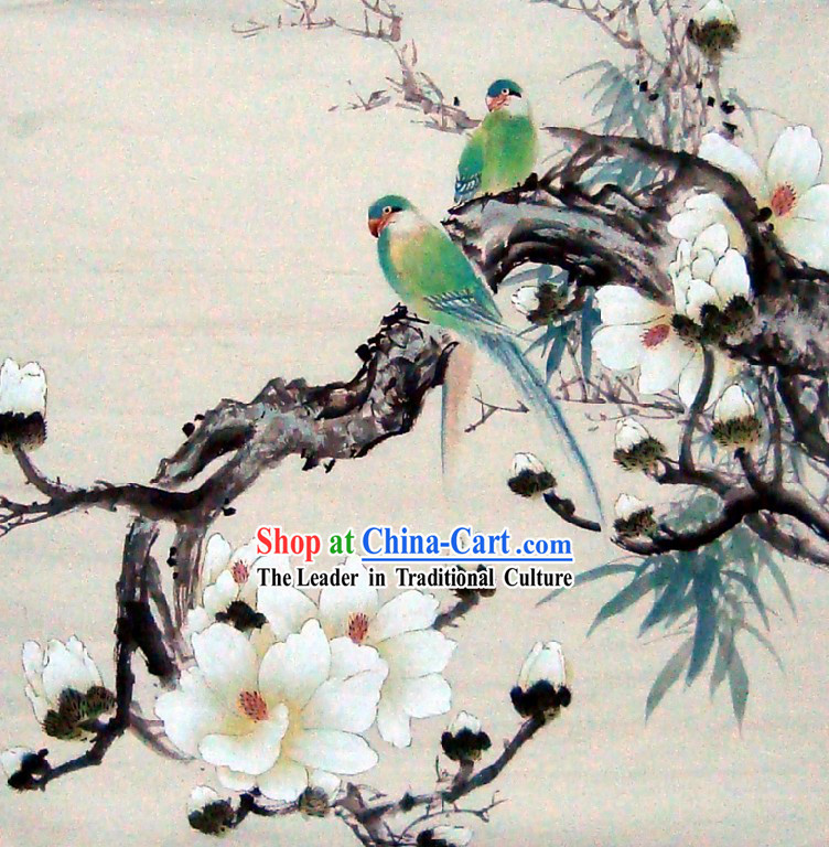 Traditional Chinese Birds and Flower Painting by Liu Lanting