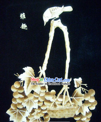 Traditional Chinese Wheat Stalk Painting - Grape Basket