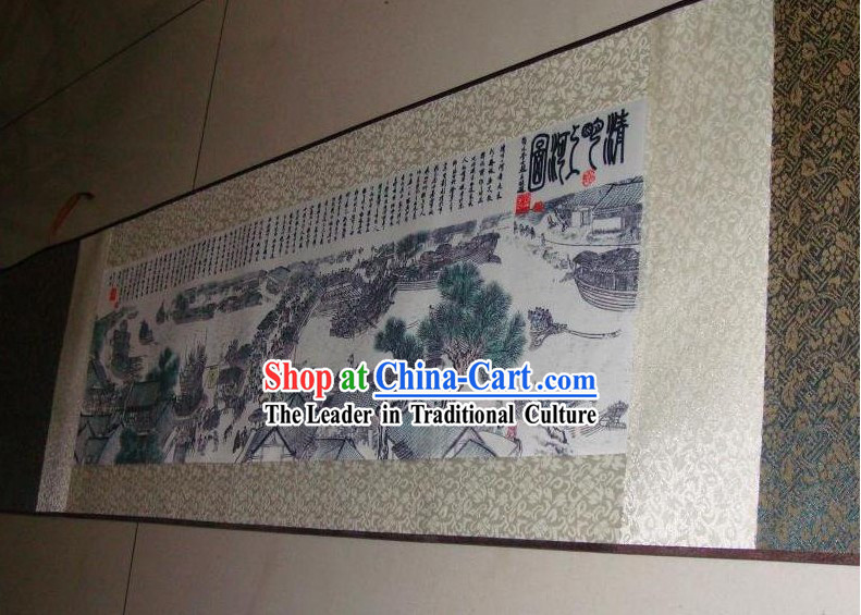 Traditional Chinese Silk Paintings - Riverside Scene at the Pure Moon Festival