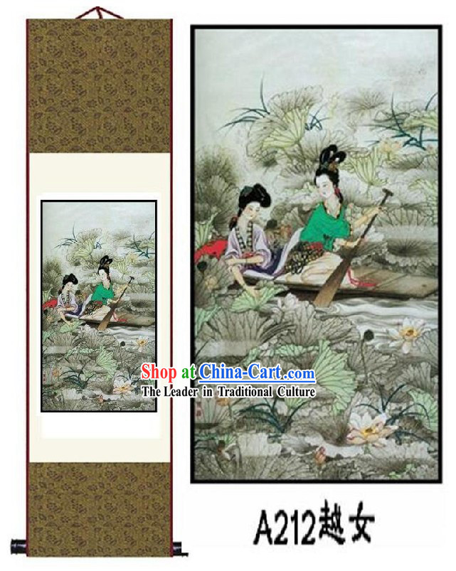 Chinese Silk Lady Painting