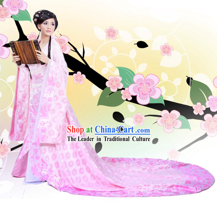 Chinese Ancient Palace Dance Costumes and Hair Accessories Complete Set