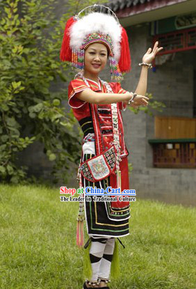 China Gaoshan Minority Dress and Hat Complete Set