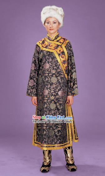 Chinese Hezhe Minority Dress and Hat Complete Set