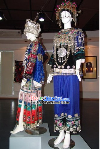 Traditional Miao Zu Costume 2 Complete Sets for Wedding