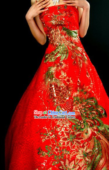 Traditional Stunning Made to Order Lucky Red Large Phoenix Long Wedding Dress