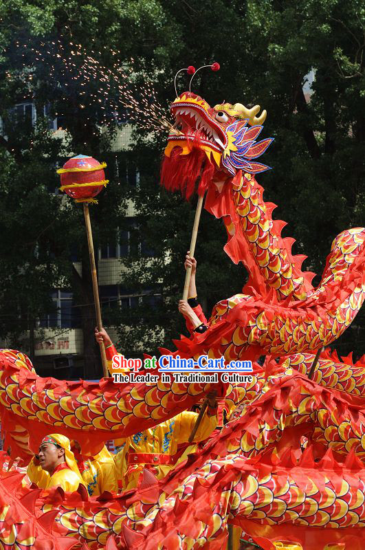 Happy Festival Celebration Dragon Dance Costumes Complete Set for Eight Adults