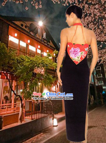 Traditional Hands Embroidered Peony Silk Backless Cheongsam and Evening Wear