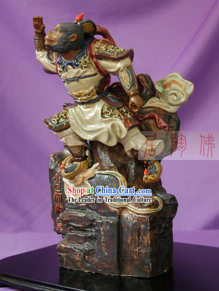 Shiwan Ceramic Monkey Sculpture _  Hand Carved Monkey King Statue