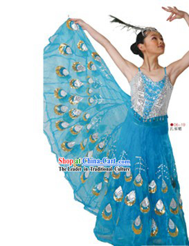 Chinese Traditional Peacock Dai Dance Costumes Complete Set