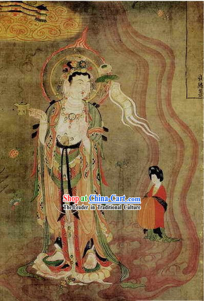 Chinese Film and Stage Performance and Photo Studio Traditional Painting Prop - Guan Yin Portrait