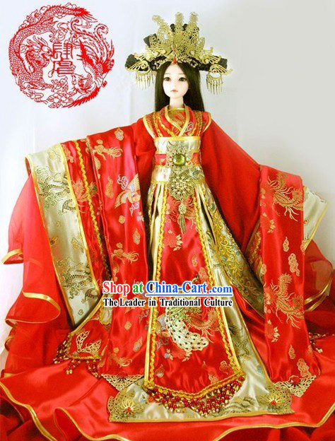 Supreme Chinese Ancient Princess Wedding Clothing and Hair Decoration Complete Set for Adults