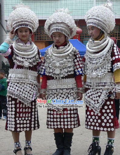 Chinese Miao Minority Silver Costume and Accessories Complete Set