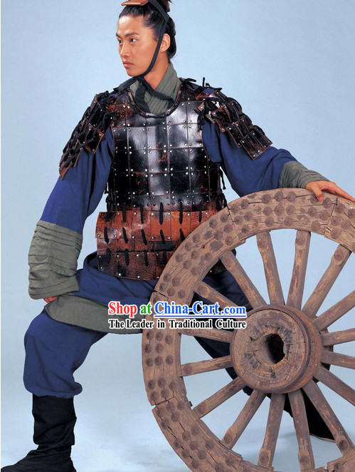 Chinese Qin Dynasty Period Terracotta Terra Cotta Warrior Costume and Hat Complete Set for Men