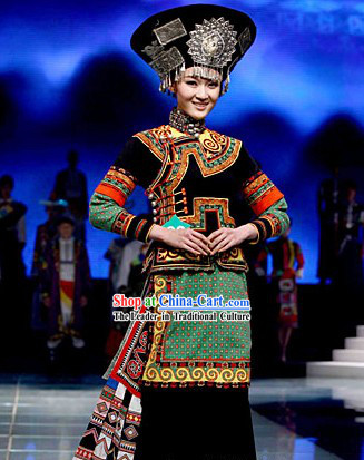 Chinese Traditional Yi Minority Ethnic Dance Costumes and Hat Complete Set
