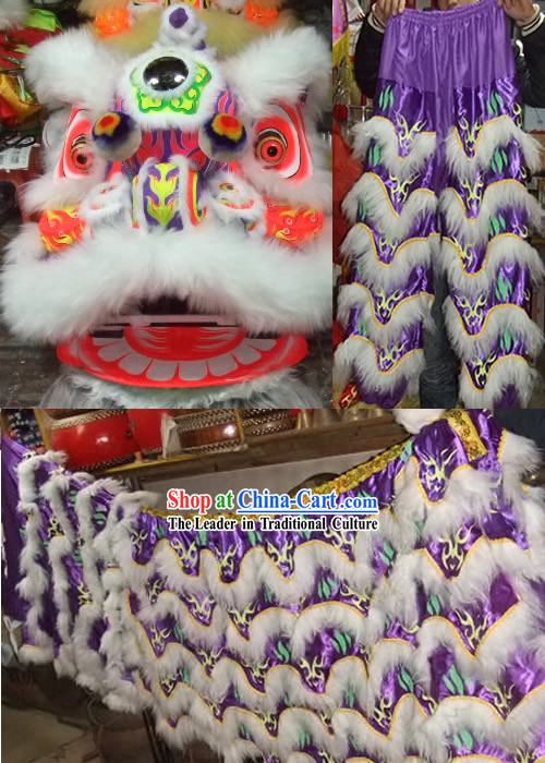 Fluorescent Luminous Glow in Dark Supreme Competition and Parade Lion Dance Costumes Complete Set