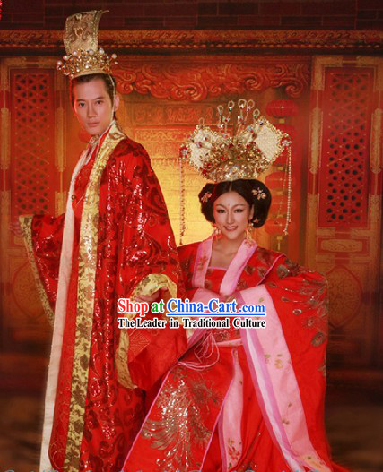 China Traditional Wedding Groom Dress and Crown Complete Set
