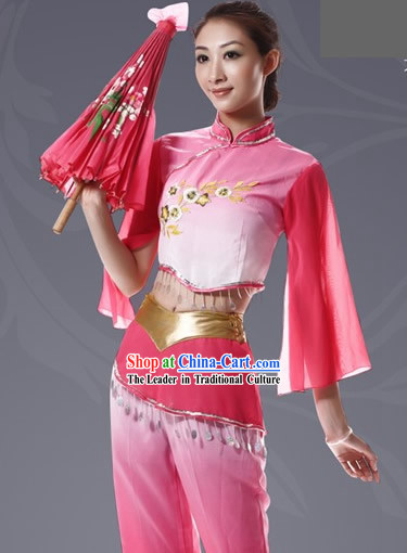 Chinese Umbrella Dance Color Transition Costume Set