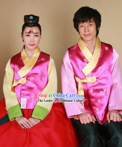 Traditional Korean Wedding Dress for Bride and Bridegroom