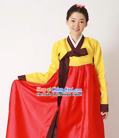 Traditional Korean Hanbok Complete Set for Women (red and yellow)