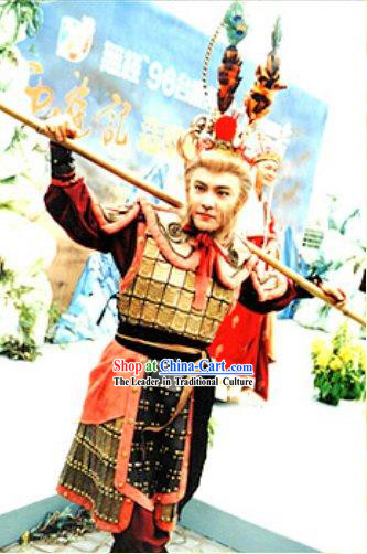 Chinese Traditional Sun Wukong (Monkey King of Journey to the West) Costumes and Hat Complete Set