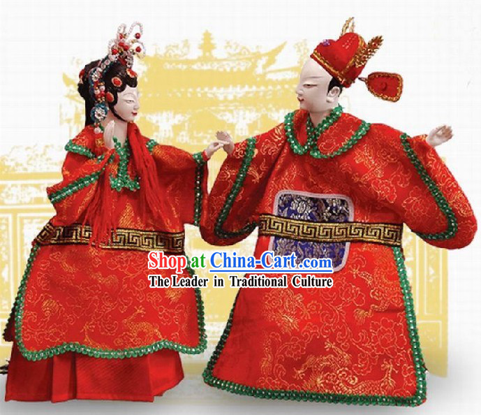 Traditional Chinese Puppets 2 Sets of Newly Wedded Couple