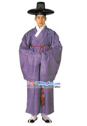 National Costume of Korea Ancient Korean Men Costumes and Hat Set