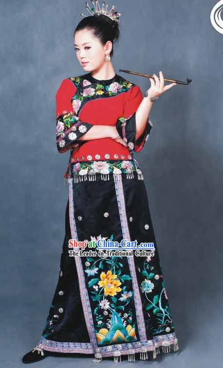 Chinese Traditional Minority Dance Costumes Complete Set