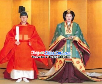 Japanese Emperor and Empress Traditional Costume Two Sets
