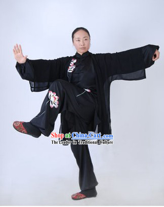 Traditional Lotus Silk Tai Chi Clothing and Cape Set